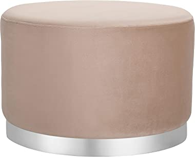 BIRDROCK HOME Round Taupe Velvet Ottoman Foot Stool - Soft Large Padded Stool – Silver Trim – Coffee Table - Great for The Li