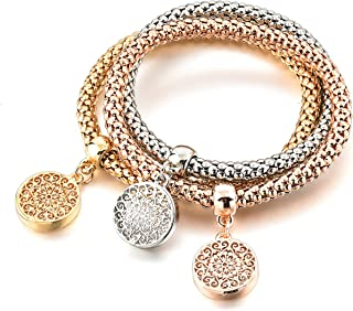 Long Way 3Pcs Gold Silver Rose Gold Plated Charm Bracelet for Women Stretch Crystal Multilayer Bracelet