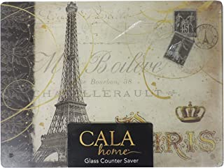 Cala Home Tempered Glass Cutting Board Counter Saver Paris Eiffel Tower 12 by 16 Inches