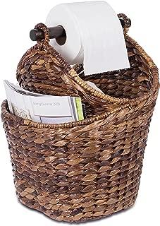 BirdRock Home Seagrass Magazine and Bathroom Basket - Hand Woven Toilet Paper Holder with Pocket - Espresso - Stylish Decorative Design - Wooden Basket Décor - Dispenser