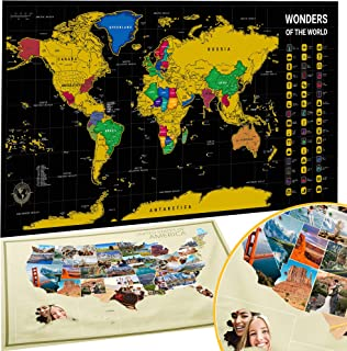 BIBIEN Scratch Off Map of The World + USA Map - Set of Two Deluxe Gold Scratch-Off Travel Posters with Colorful Countries,...