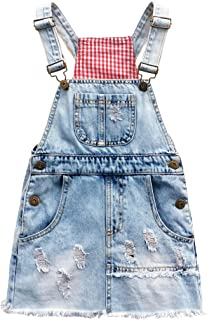 Kidscool Space Girls Shimmering Powder Ripped Patchwork Raw Edge Cute Jeans Overalls Dresses