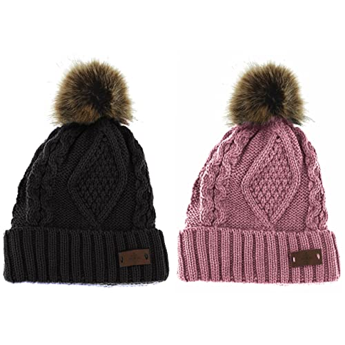 a152e3b9b92 ANGELA   WILLIAM Women s Winter Fleece Lined Cable Knitted Pom Pom Beanie  Hat