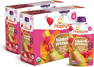 Sponsored Ad - Happy Tot Organic Fiber & Protein Pouch Stage 4 Pears Raspberries Butternut Squash & Carrots, 4 Ounce Pouch...
