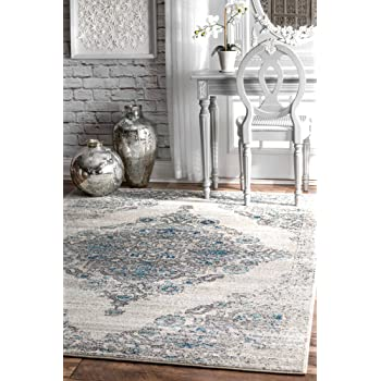 "nuLOOM Floral Diamond Border Area Rug, 5' x 7' 5"", Light Blue"