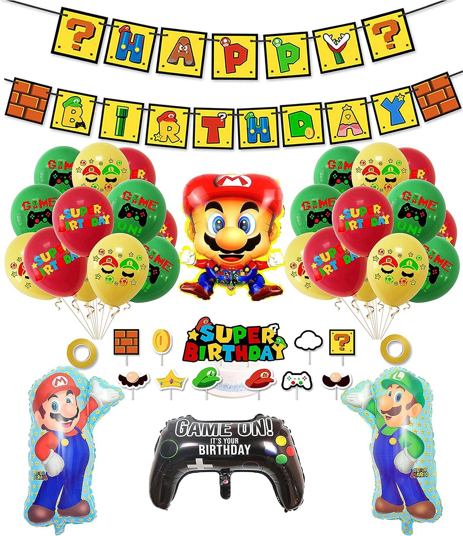 smileh Decoracion Cumpleaños Super Mario Globos de Mario Feliz Cumpleaños del Pancarta Adorno de Torta para Niños Ducha de Bebé Fiesta de Cumpleaños