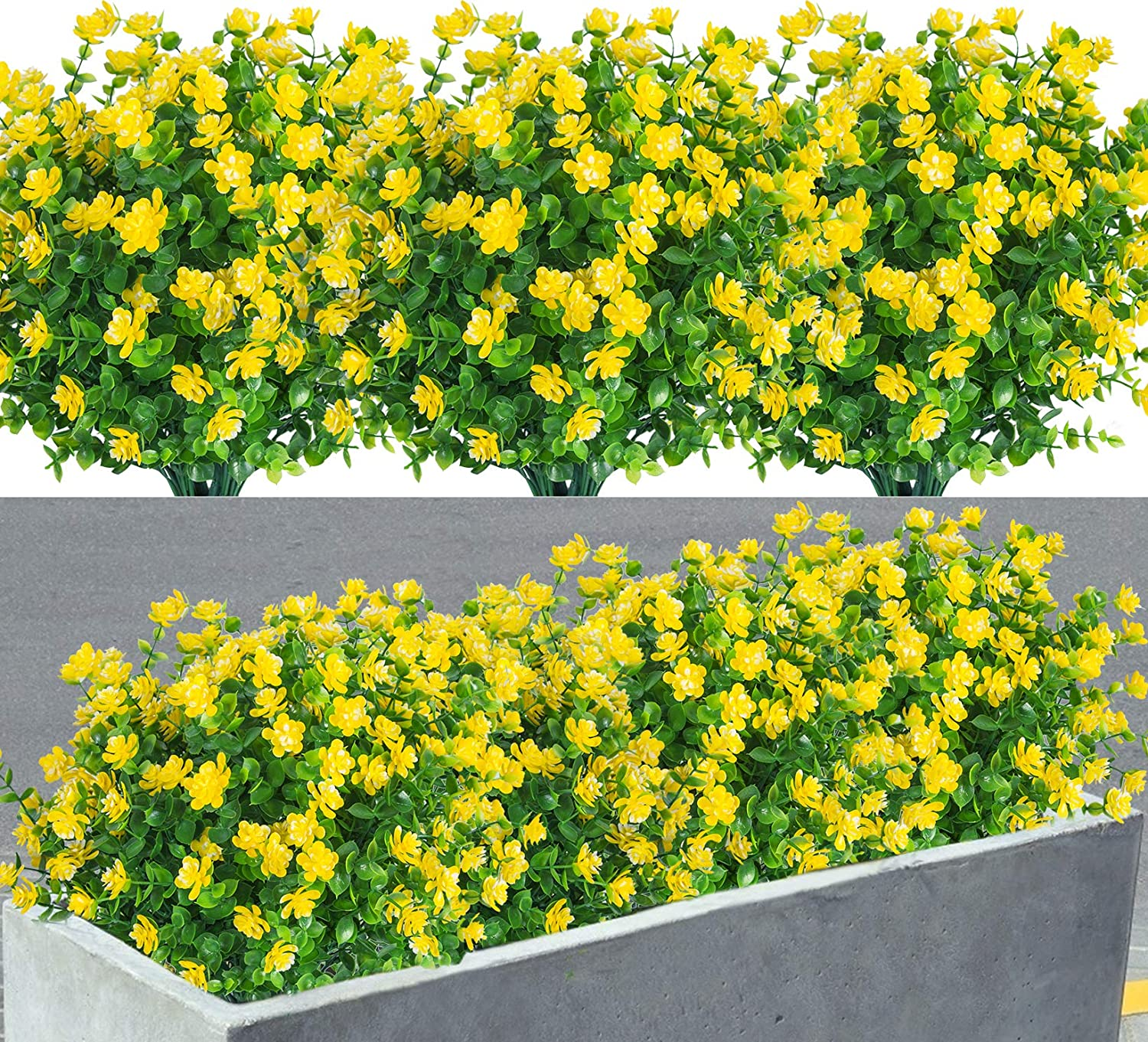 8 Pack Artificial Flowers Fake Plants Outdoor uv Resistant Faux Plastic Plants Greenery Shrubs for Indoor Outdoor Hanging Planter Home Room Kitchen Porch Window Box Decor (Yellow)