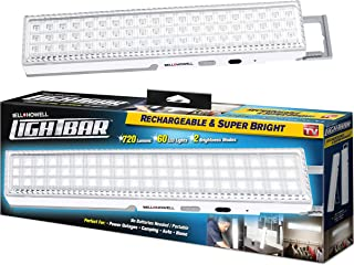 """Bell + Howell Light Bar 60 LEDs with Super Bright 720 Lumen Output – All Day Power, Rechargeable with Auto Light Sensor, XL 16.5"""" Size with Kickstand"""