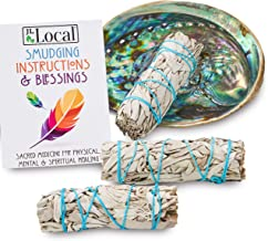JL Local 3 White Sage Smudge Kit | Sage Incense Kit for Cleansing | Abalone Shell & Instructions Included | Smudging Kit w...