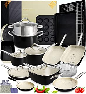 Kitchen Pots and Pans Set - 23pc Kitchen Cookware Sets Induction Pots and Pans for Cooking Set Induction Cookware with Fry...