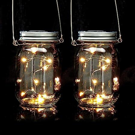 Relaxdays Set da 2 Lampade Solari, in Barattolo, Ognuna con 8 Luci a LED Poggiare o Appendere, per Giardino, Trasparente, 2 pz