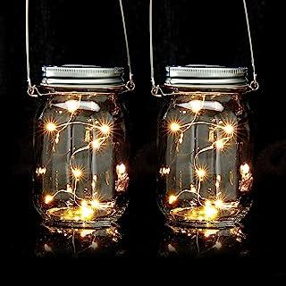Relaxdays Set da 2 Lampade Solari, in Barattolo, Ognuna con 8 Luci a LED Poggiare o Appendere, per Giardino, Trasparente, ...