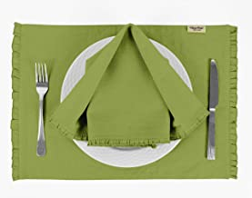 Vargottam Light Green Solid Home Décor Everyday Washable Frill Placemats with Napkins Dining Table Decor-Pack of 6