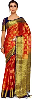 MIMOSA Art Orgenza Wedding Silk Saree Kanjivarm Style with Contrast Blouse Color: Red (4247-2223-2D-RED-NVY)
