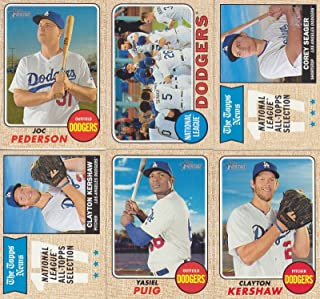 Los Angeles Dodgers 2017 Topps Heritage Series 15 Card Basic Team Set with Corey Seager and Clayton Kershaw Plus