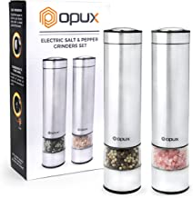 OPUX Electric Salt and Pepper Grinder Set with LED Light | Battery Operated Stainless Steel Salt Shaker, Automatic Pepper ...