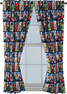 """Jay Franco Marvel Avengers Team 63"""" inch Drapes 4 Piece Set - Beautiful Room Décor & Easy Set up - Window Curtains Include 2 Panels & 2 Tiebacks (Official Marvel Product)"""