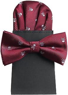 KOOELLE Mens Fashion Checkered Necktie Self Tie /& Pocket Square Matching Set