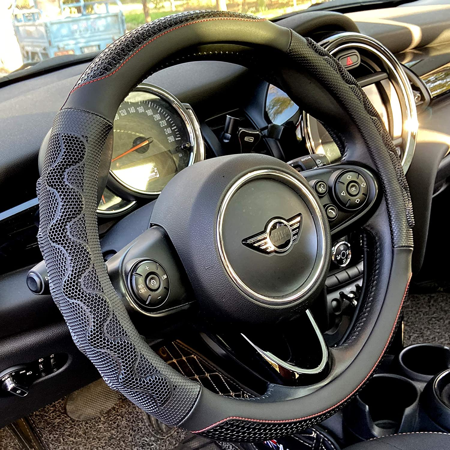PINCTROT Large Size Steering Wheel Cover Clearance price SALE Limited time Hone 3D with Grip Great