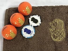 マーライオン ゴルフボール オレンジ(ゴールド)&今治マーライオンタオル(茶色)&マーライオンボールマーク(ブルー・ブラック)セット