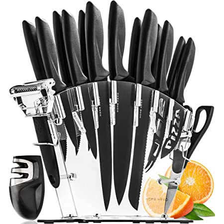 Set De Couteau De Cuisine Professionnel Avec Bloc Couteaux - 13 Inox Couteaux Cuisine Professionnelle et Aiguiseur - 6 Steak Couteaux Couteau De cuisine Chef Pain Pizza Fromage Couteau et Éplucheur