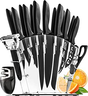 Set De Couteau De Cuisine Professionnel Avec Bloc Couteaux - 13 Inox Couteaux Cuisine Professionnelle et Aiguiseur - 6 Ste...