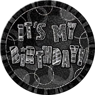 "6"" Black Sparkle Giant It's My Birthday Prismatic Party Badge"