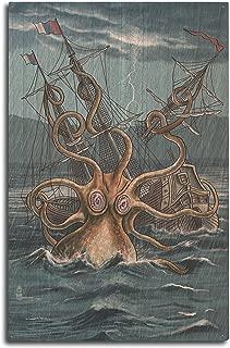 Lantern Press Kraken Attacking Ship (10x15 Wood Wall Sign, Wall Decor Ready to Hang)