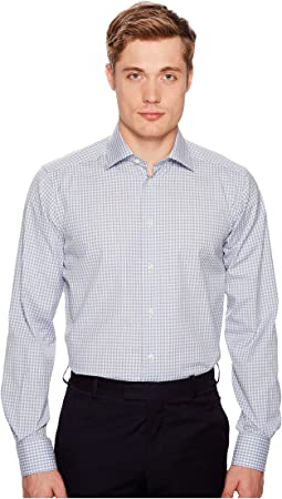 Eton Contemporary Fit Light Plaid Shirt