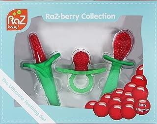 RaZbaby RaZberry Collection 3pc Gift Set: RaZberry Silicone Teether, RaZberry Toothbrush & RaZberry Spoon