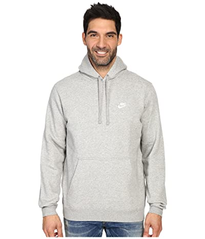 Nike Club Fleece Pullover Hoodie (Dark Grey Heather/Dark Grey Heather/White) Men