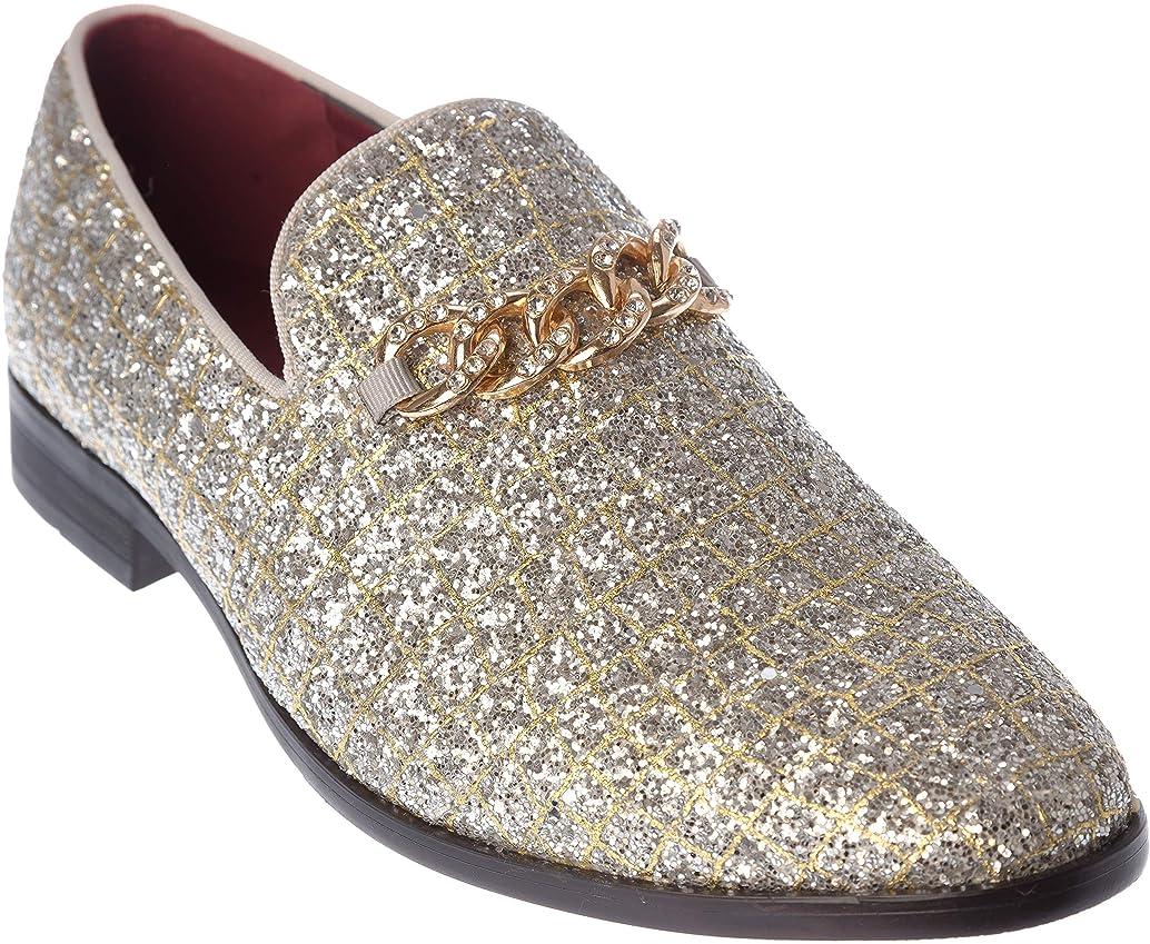 sparko20 Mens Slip-On Fashion-Loafer Sparkling-Glitter Dress-Shoes