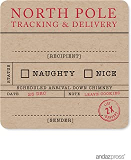 Andaz Press Christmas Collection, Square Gift Label Stickers, North Pole Tracking, 40-Pack, Unique Christmas Stationery, Kraft Look, Funny Gift Present Packaging