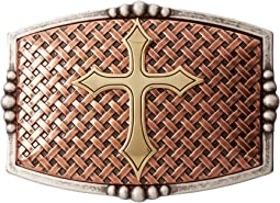 Rectangle Basketweave Cross Buckle