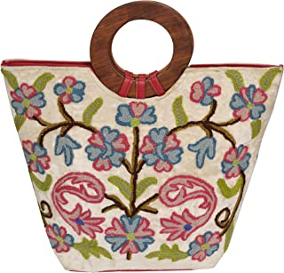 Exotic India Ari-Embroidered Handbag from Kashmir with Wood Handles