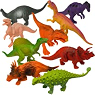 """Prextex Realistic Looking 7"""" Dinosaurs Pack of 12 Large Plastic Assorted Dinosaur Figures with..."""