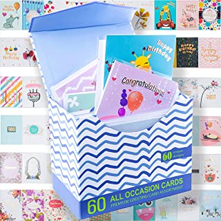 """$23 » 60 ROSE GOLD FOILED All Occasion Greeting Cards - ALL UNIQUE DESIGN Assorted Cards, BIG 5""""x7"""", Happy Birthday Card, Thank ..."""