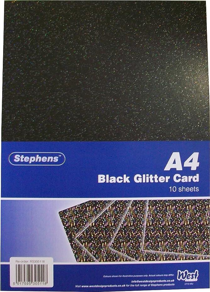 Stephens A4 220 Gsm Glitter Board - Black