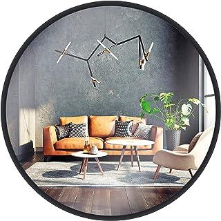 Miroir Mural Gold & Chrome, Rond, avec Cadre en Aluminium | Surface Miroir revêtue de téflon, résistante à l'humidité | Ca...