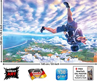 Poster – Skydiving Cliffhanger ‒ Mural Decoration Parachute Jumping Adventure Extreme Sports Sky-Dive Adrenaline Free Fall Wallposter Photoposter Wall Mural Decor (55 x 39.4 Inch/140 x 100 cm)