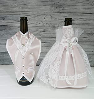 Bride and Groom Wine Bottle Covers- Wine bottle dress-up for Weddings- Wedding Gifts For the Couple- Fun Wine Bottle Covers- Wedding Centerpieces Decorations- Wine décor- wine accessories (nude)