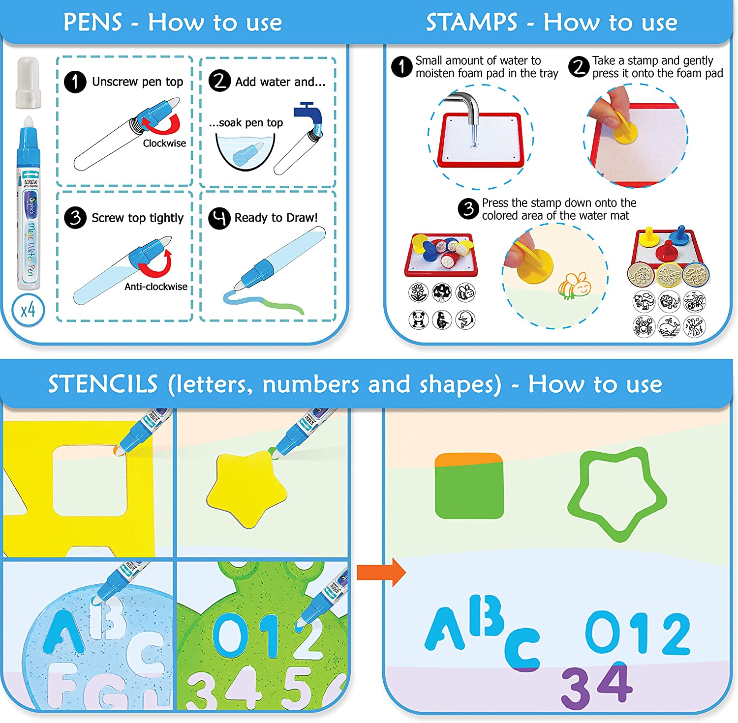 """Kids//Toddlers//Boys//Girls Ages 2 3 4 5 6 7 8 Water-Pens//Stencils//Stamps Incl Reusable Educational Drawing//Painting//Writing//Coloring Toy Mess Free Magic Water Doodle Mat 40 x 32/"""" Animal Alphabet"""