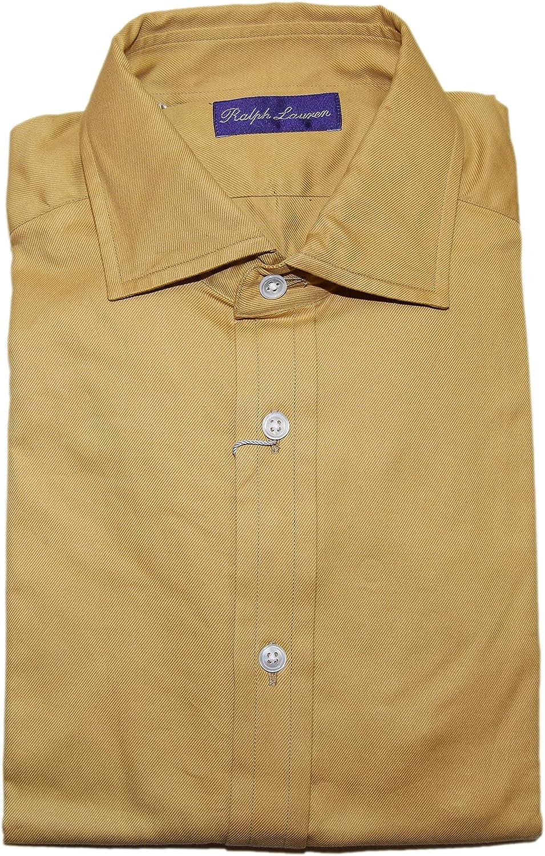 Ralph Lauren Polo Purple Label Men Brown Tan Cotton Dress Shirt Italy Large $425