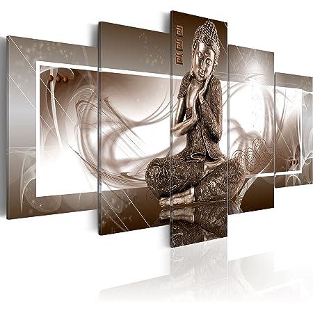 murando Impression sur Toile intissee 200x100 cm 5 Pieces Tableau Tableaux Decoration Murale Photo Image Artistique Photographie Graphique Bouddha 020113-266