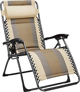 AmazonBasics Padded Zero Gravity Chair- Tan (Renewed)