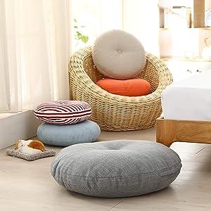 Jiaxin Round Japanese Linen Tatami Floor mat, Meditation mat, Yoga Window mat, Four Seasons Kindergarten Classroom Office mat. 45x15cm Tatami Cushion (Grey)