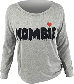 Unique Baby Womens Halloween Mombie Long Sleeve Pullover Long Sleeve Shirt Funny Casual Top