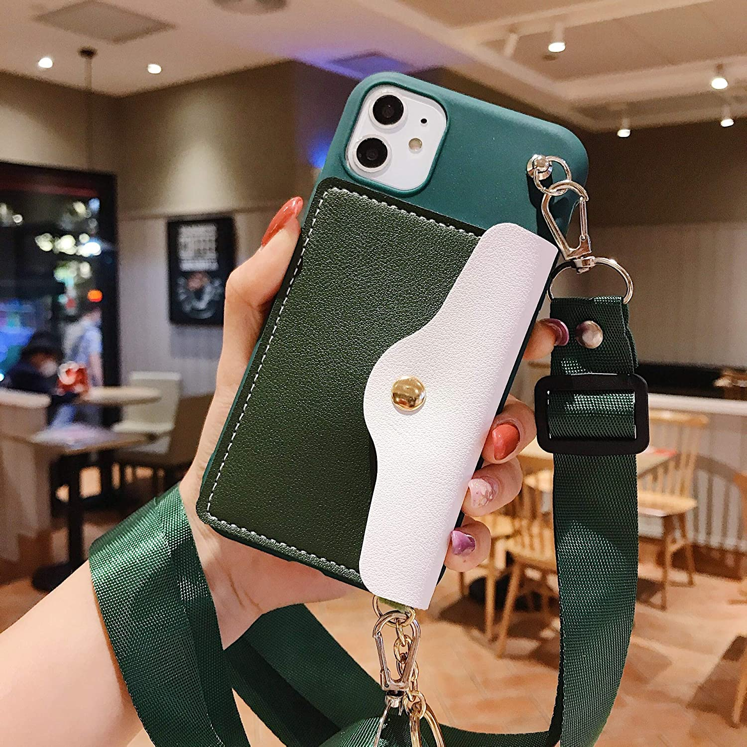 ISYSUII Crossbody Case for iPhone X/XS Wallet Case with Card Holder Slots Adjustable Lanyard Strap Soft Leather Purse Handbag Magnetic Clasp Protective Case for Girl Women,Green