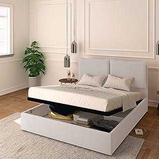 Baldiflex Lit double avec coffre modèle Licia en tissu, sommier à lattes, pour matelas double 160 x 190 cm, tête de lit fi...