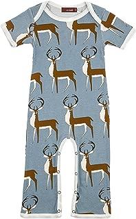 Milkbarn Organic Short Sleeve Applique One Piece Rose Dot Deer 6-12 Months